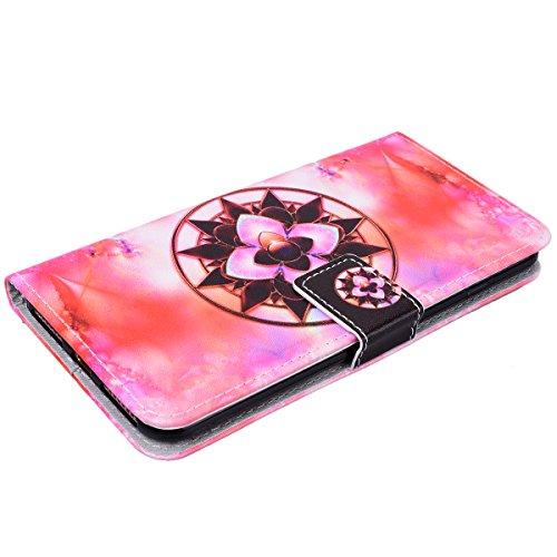 Yokata iPhone 7 Plus Hülle Leder Flip Wallet Case Ledertasche mit Kartenfach Ständer Halter Standfunktion Magnet und Weich Silikon Handyhülle Handy Etui Schutzhülle Protective Cover für iPhone 7 Plus  Mandala