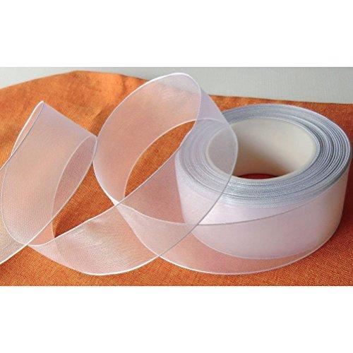 NUOLUX Schleifenband, 25 m * 4 cm Organza Geschenkband DEKOBAND Hochzeit Antennenband (weiß)