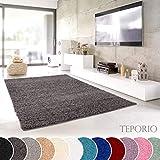 Shaggy-Teppich | Flauschiger Hochflor fürs Wohnzimmer, Schlafzimmer oder Kinderzimmer | einfarbig, schadstoffgeprüft, allergikergeeignet in Farbe: Dunkelgrau; Größe: 120 cm rund