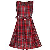 Mädchen Kleid rot Schottenkaro Taste Zurück Schule Gefaltet Saum Gr. 158