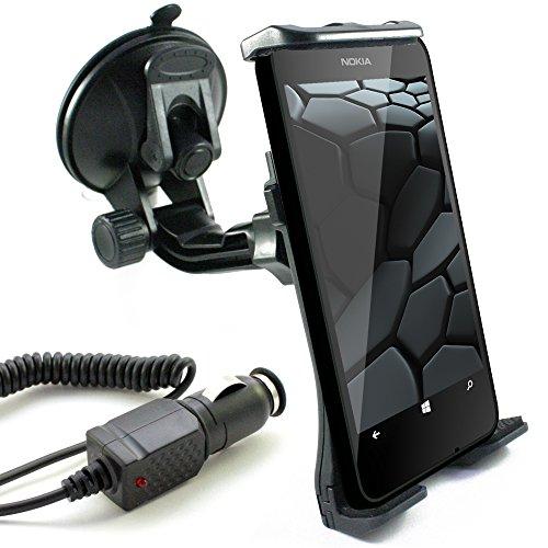 KFZ Set für NOKIA Lumia 1520 / 1320 / 1020 / 930 / 925 / 920 / 820 / 735 / 730 / 720 / 640 / 635 / 630 / 625 / 620 / 535 / 532 / 520 / 435 / auch XL, LTE & DUAL SIM Modelle / KFZ Halterung (Mod:2) schwarz für die Windschutzscheibe von scozzi inkl. Auto Ladekabel