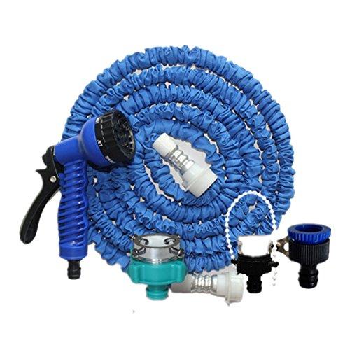 2017 verbesserte Version des 3-mal automatisch versenkbaren Schlauch Multifunktions-Autowaschwasserpistole Anzug Bewässerung Gartengeräte Gartenschlauch (Blue-2.5-7.5m)