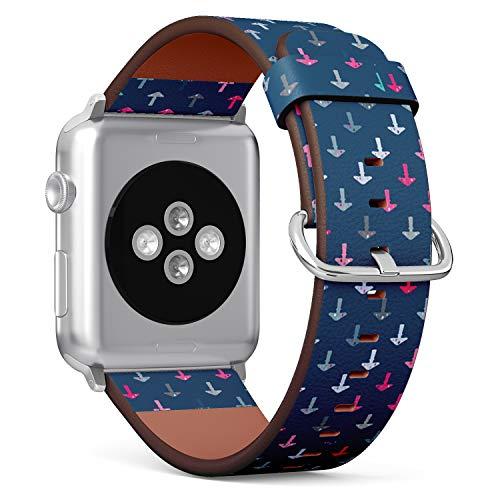 Art-Strap Kompatibel mit für SMALL Apple Watch 38mm & 40mm - Uhrenarmband Ersatzarmbänder Lederarmband mit Edelstahl-Verschluss und Adapter (Symbole Drogensucht)