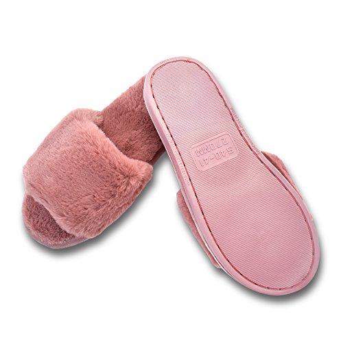 MStar Mesdames mignonne lit pantoufle chaude en peluche fourrure pantoufle pantoufle antidérapante pour lautomne/hiver en 5 couleurs Rose foncé