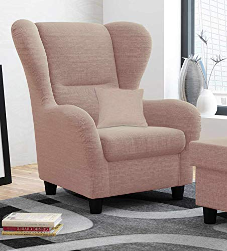 lifestyle4living Ohrensessel in rosa im Landhausstil | Der perfekte Sessel für entspannte, Lange Fernseh- und Leseabende. Abschalten und genießen!