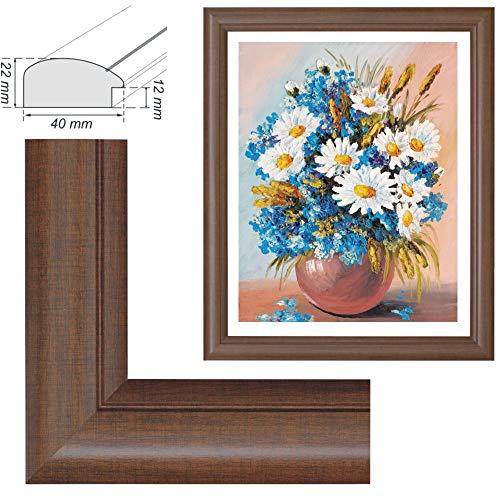RAABEC Bilderrahmen, für Bilder der Größe 40x50cm, Farbe Nußbaum, Braun, ideal für Malen nach Zahlen Bilder von Schipper oder Ravensburger (ohne Glas)