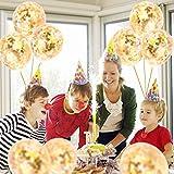 Artoper 25 Stück Gold Konfetti Ballons, Latex Luftballons Ø 30cm mit Golden Folie Konfetti für Geburtstagsfeier Hochzeit Party und Festival Dekoration(25 Stück - Golden) - 4