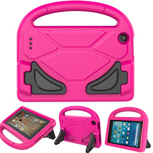 BEARS VS BABIES Fire 7 2015 Case with Screen Protector, Kinder Freundlich Light Weight Cabriolet Griff Stand Hülle für Amazon Fire 7 Tablet(5th Generation 2015 Release) Rose Rot (Kids Fire Hd 7 Screen Protector)