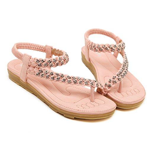 Fortuning's JDS Morbide sandali piatti in stile tessere alla moda per le signore Rosa