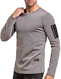 Celebry tees - Pull homme gris chiné col rond poche suédine