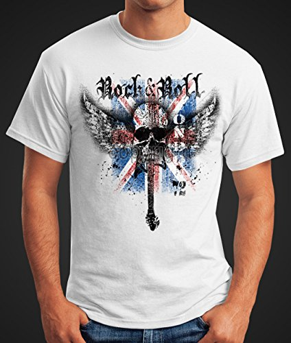 Herren T-Shirt - Rock 'n' Roll Wing Skull Totenkopf London 72 Union Jack England Flagge - Comfort Fit MoonWorks® Weiß