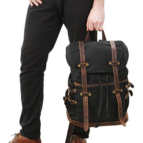 Lifewit Zaino per Computer Portatile da 15.6 Pollici, Zaino Impermeabile per Scuola Viaggi Escursioni in Vera Pelle e Tela da Uomo e Donna