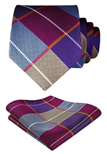 HISDERN Herren Krawatte Taschentuch Check Krawatte & Einstecktuch Set Blau Lila