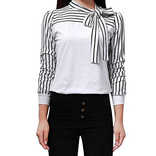 Formale Shirt Schwarz (Lonshell_Damen Tops Frauen-Bluse Geschäfts-Bluse Bogen-Riemchen-Gestreifte Patchwork-Dünne Oberseiten durch Lonshell (M, Weiß))