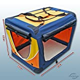 Faltbare Hunde-Transportbox / Auto-Transportbox L Blau-Orange-Gelb