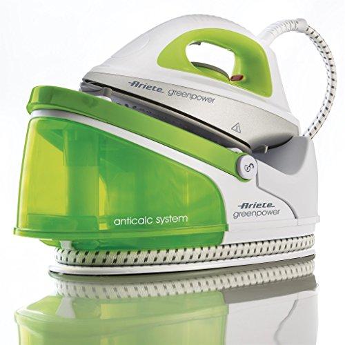 Ariete stiromatic greenpower ferro generatore ricaricabile di vapore ad autonomia illimitata, piastra in ceramica, serbatoio removibile, 2200 w, 1.5 litri, plastica, bianco/verde