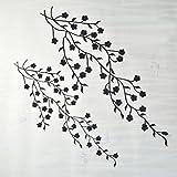 Welecom Aufnäher, Blumenstickerei, Patch, Pflaume, (Silber, 35cm und 45cm), 2Stück Schwarz