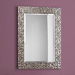 Idea Regalo - Soak Arredo Bagno Specchio Moderno con Cornice, Bordo Smussato, Montaggio a Parete - Grigio Peltro