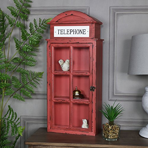 Melody Maison Red London Telephone Box glasiert Schrank - Traditionelle Holz-vitrine