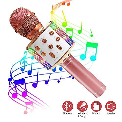 ASENTER Micrófono Inalámbrico Bluetooth Karaoke con luces LED,Infantil Portátil de mano Speaker Machine Birthday Home Party Compatible con Android/iOS/PC/AUX o Teléfono Inteligente (Oro Rosa)