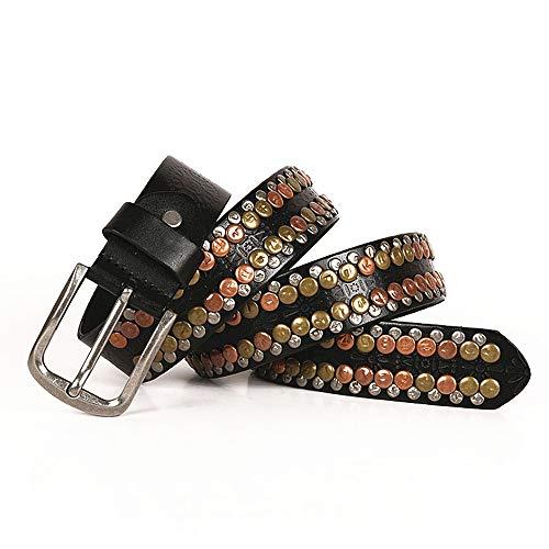KOMEISHO Cinturones de Remache de Color Cobre Vintage Cinturón Estilo Punk Unisex para Hombres y Mujeres (Color : Negro, tamaño : 120cm)