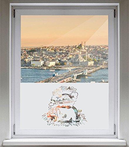 INDIGOS UG Sichtschutzfolie Glasdekorfolie Fensterfolie mit Motiv satiniert blickdicht - E934 Schweinefutter - individuelle Länge in 10 cm Schritten - Viereck