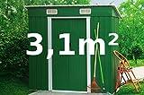 ASS Gartenhaus Geräteschuppen Metallhütte 3,1m² 2,4x1,3m aus verzinktem Stahlblech Metall grün von