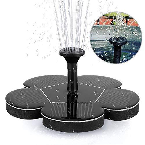 Solarbrunnen - Neueste aktualisierte freistehende tragbare schwimmende solarbetriebene Springbrunnenpumpe für Garten-Hinterhof-Teich-Pool im Freien - Schwarz - Teich Solarbetriebene Pumpe