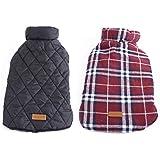 Generic Pet Dog Waterproof Reversible Plaid Jacket Coat Winter Warm Clothes Red XL