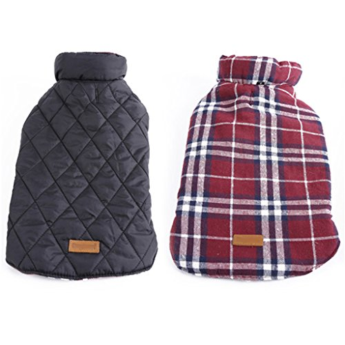 Generic Pet Dog Waterproof Reversible Plaid Jacket Coat Winter Warm Clothes Red S