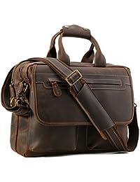 Tiding Cuir de vachette Cru Weekender Portable Sac marron - Durable, spacieux, élégant Continuer Entreprise Travel Duffles Sac - S'adapte 17,3