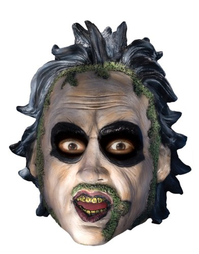 Beetlejuice Costume Accessory, Mens Beetlejuice 3/4 Mask With Sculpted Hair - Lowest priced Beetlejuice mask