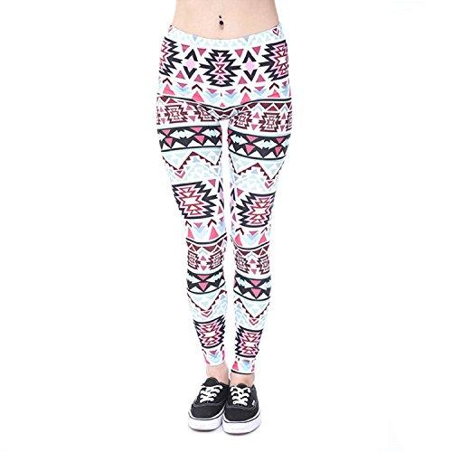 UTOVME Damen Mädchen Leggings Yoga Workout Fitness Leggings Fashion Modern Muster Gedruckt Stretchy Hosen Sportlich Dünne Strumpfhose Geometrische Dreiecke Einheitsgröße (Quadrate Langes Geometrischen Kleid)