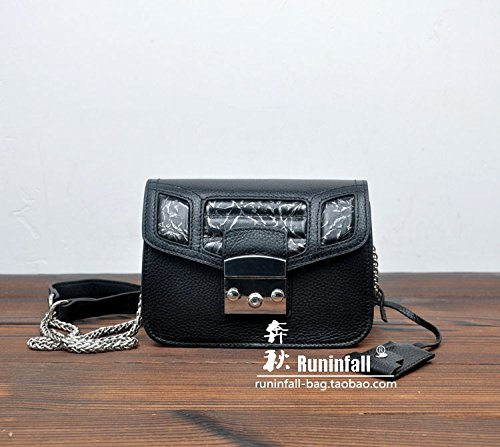 Nouvelle couche supérieure de la chaîne en cuir petit sac en cuir grain baodan petit sac à bandoulière Messenger Bag couleur Litchi All black