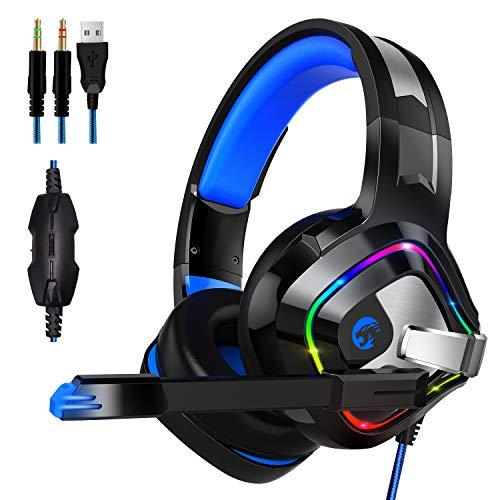 Gaming Headset für PS4 PC Xbox One, ZIUMIER Game Headphone mit Noise Cancelling Mikrofon und Surround Sound, RGB LED Licht Weiche Komfort Ohrenschützer für Laptop