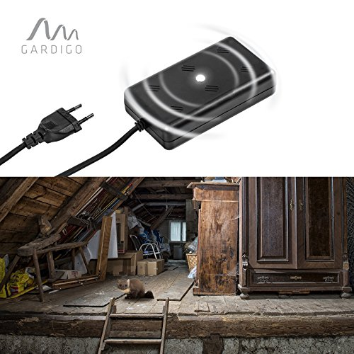 Gardigo Marder-frei Indoor LED, Marderschreck, Marderschutz, Marderscheuche, Marderfrei durch Schall und Licht, Marderabwehr 230 V mit Netzstecker für Garage, Stall, Dachboden etc.
