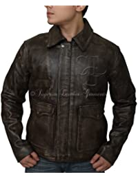 Men Jacket Indiana Jons Harrison Ford Distressed Look Genuine Cow Hide Leather Jacket