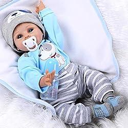 ZIYIUI 22 Pouces Réaliste Reborn Bébé Poupée Vinyle de Silicone Souple Poupée Nouveau-Née Magnétique Bouche Belle bébé garçon Jouets