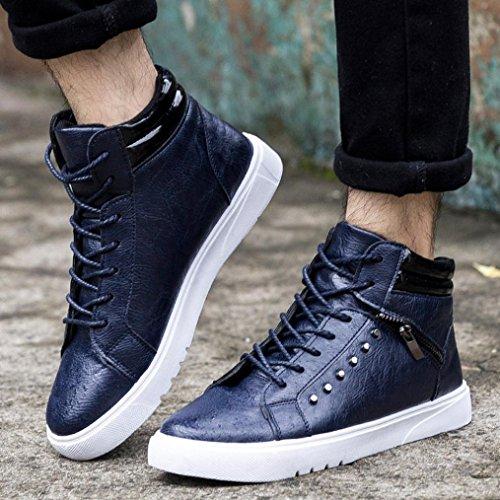 HCFKJ Hommes Chaussures DAide de Haute Mode Bottes Chaudes Chaussures Chaussures de Sport Top Canvas Occasionnel Bleu