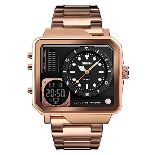 LGPNB Art und Weise beiläufige Uhr, Geschäft, Edelstahlarmband, lokales Gold, Quadrat, elektronische Uhr der doppelten Anzeige-Rosegold