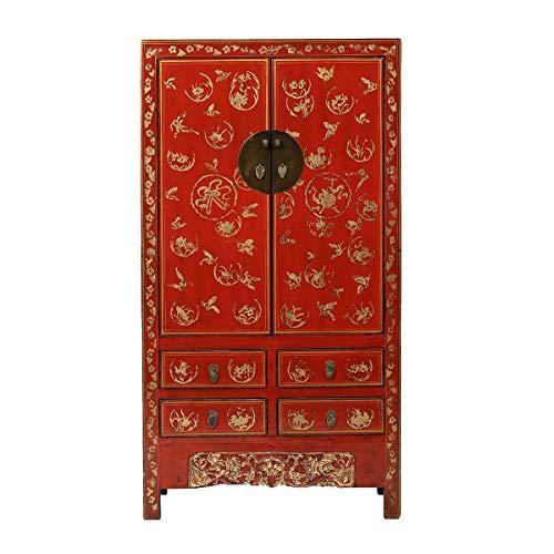 Yajutang Antiker Hochzeitsschrank 2 Türen 4 Schubladen bemalt rot