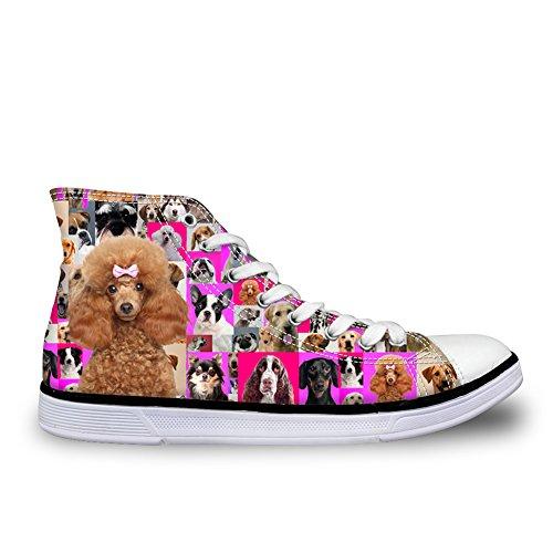 2cec34ba4725f HUGS IDEA Kawaii Girls High Top Canvas Shoes Puppy Poodle Print Casual  Women Sport Sneakers US7