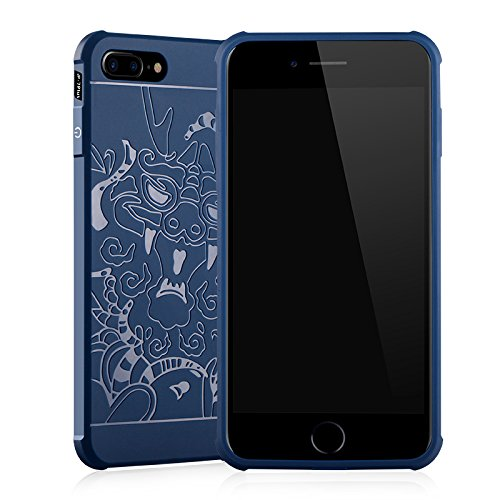 "Gukas Housse Coque Gel Silicone Case Cover Pour Apple iPhone 7 plus / iphone 8 plus 5.5"" TPU Ultra Slim Soft Rubber Shock Absorber Flexible Bumper Protective Etui (Bleu) Dragon Bleu"