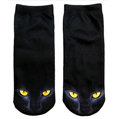 Schwarze Katze Besatzung Socken Glänzenden Katze Augen Boot Damensocke (Hexen-socken)
