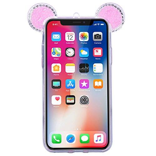 GrandEver iPhone X Hülle Glitzer Weiche Silikon Handyhülle Diamant Maus Ohren Gel Bling TPU Bumper Schutzhülle für iPhone X Rückschale Klar Handytasche Anti-Kratzer Stoßdämpfung Ultra Slim Rückseite S Rosa