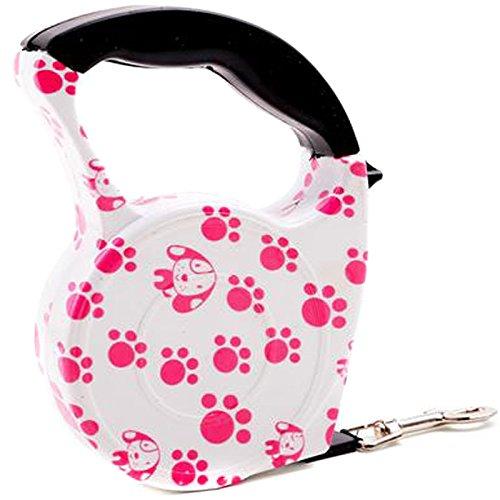 Semoss Professional Extra Stark Roll Leine Hundeleine Einziehbar für Große Hunde und Katzen Hundeleine Ausziehbar 5m mit Rosa Fuß Design