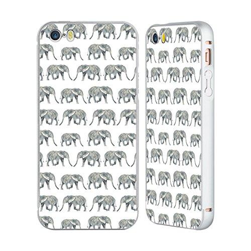 Ufficiale Charlotte Winter Fenicottero Rosa Pattern Astratti Argento Cover Contorno con Bumper in Alluminio per Apple iPhone 5 / 5s / SE Elefante Bianco