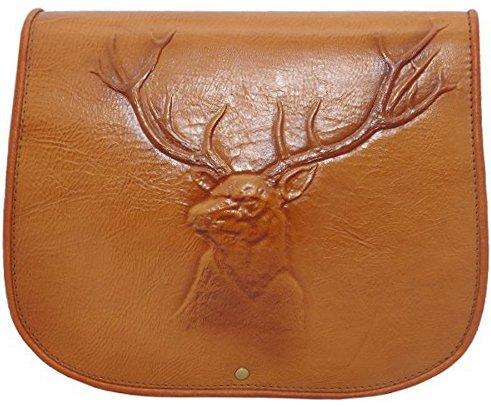 kōson Leder braun Buck Kopf Handarbeit Umhängetasche Handtasche Messenger Bag (Urban Handtasche Geldbörse Leder Hobo)