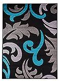 Hochwertiger Teppich LUXUS Modern Verschiedene Muster und Größen Schwarz Blau Hellgrau (200x290)