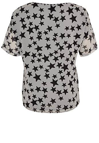 Yoek Damen Übergrößen Bluse mit Stern-Druck Schwarz / Weiß